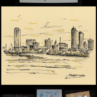 Milwaukee skyline pen & ink drawing on Lake Michigan.