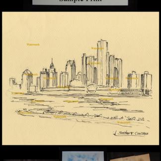 Detroit pen & ink drawing by Stephen F. Condren.