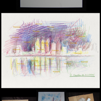 Detroit skyline color pencil drawing by Condren #2763