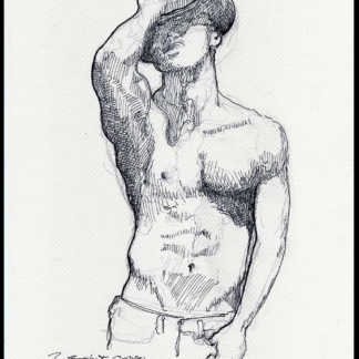 Shirtless cowboy #2835A pen & ink drawing by Condren.