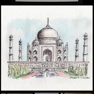 Taj Mahal pen & ink watercolor by Stephen F. Condren.