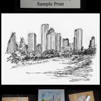 Houston skyline pen & ink drawing of downtown.