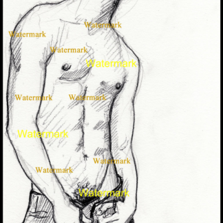 Pencil drawing of a Gay shirtless cowboy by Condren.