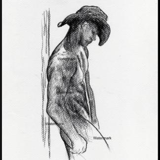 Charcoal pencil drawing of a naked Gay cowboy.