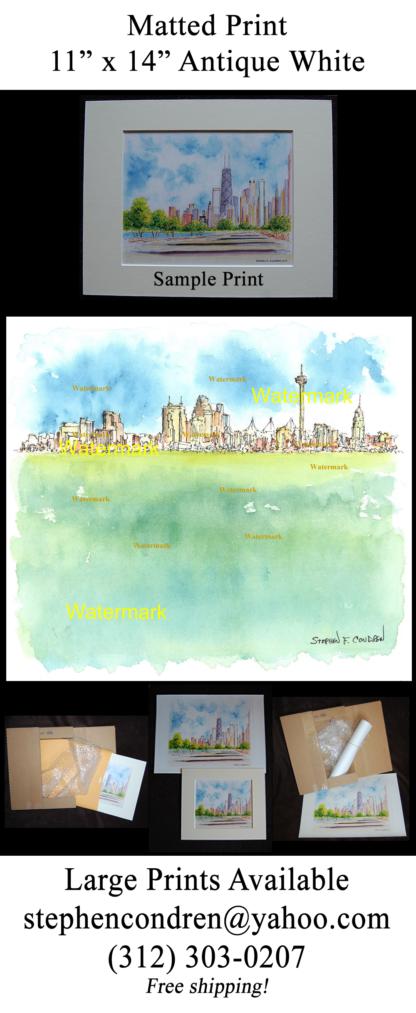 San Antonio skyline watercolor by Stephen F. Condren.