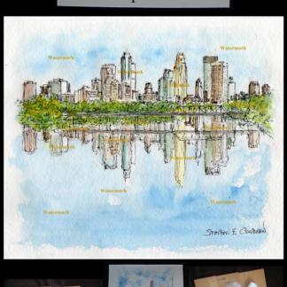 Minneapolis skyline watercolor by Stephen F. Condren.