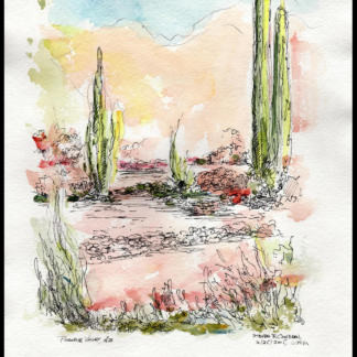 Phoenix watercolor landscape with cactus and flowers.