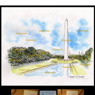 Washington Monument watercolor by Condren