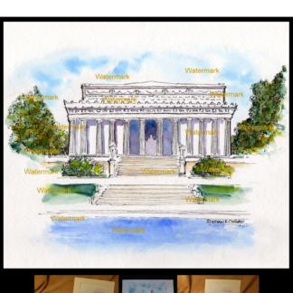 Lincoln Memorial watercolor by Stephen F. Condren.