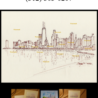 Pen & ink drawing of Chicago skyline near north side.