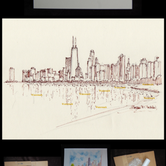 Chicago skyline pen & ink drawing of Lake Shore Drive.