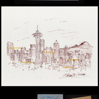 Seattle skyline pen & ink drawing with Space Needle.