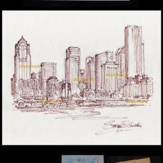Seattle skyline pen & ink drawing on Elliott Bay.