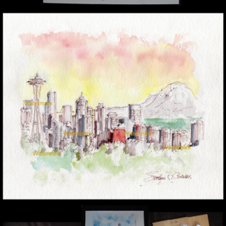 Seattle skyline watercolor with Mt. Rainier at sunset.
