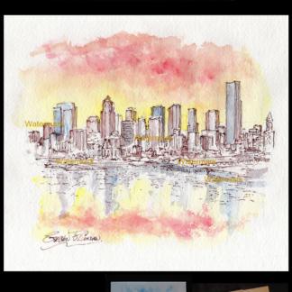 Seattle skyline watercolor on Elliott Bay at sunset.