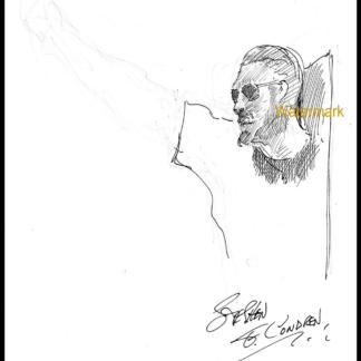 Pen & ink drawing of Aubrey Huff by Condren.