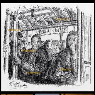 Pen & ink of passengers on a San Francisco trolley.