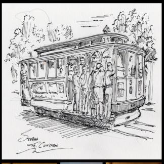 Pen & ink drawing of a San Francisco Trolley Car.
