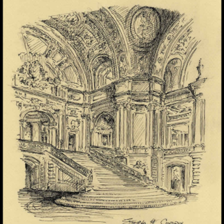 Pen & ink drawing of San Francisco City Hall rotunda.