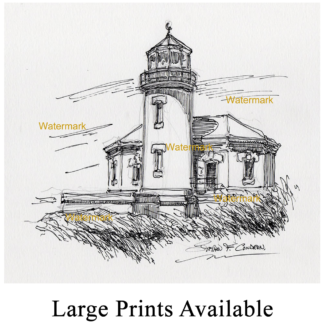 Pen & ink drawing of Bandon Lighthouse.