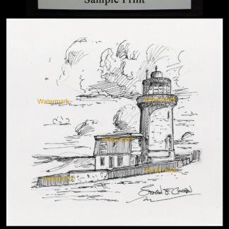 Belle Tout Lighthouse pen & ink drawing by Condren.
