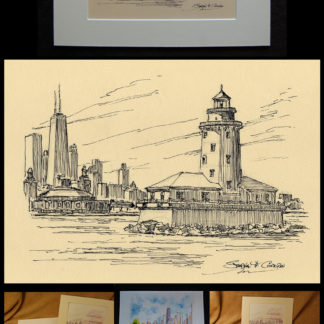 Chicago Harbor Lighthouse pen & ink drawing by Condren.