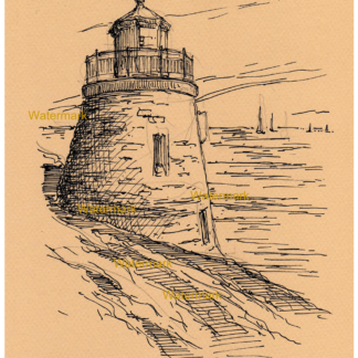 Pen & ink drawing of Newport Lighthouse.