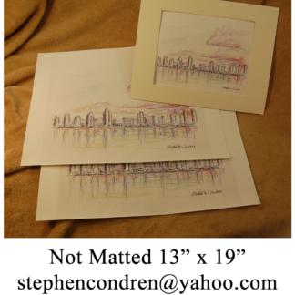 Large skyline watercolor prints by Stephen F. Condren.