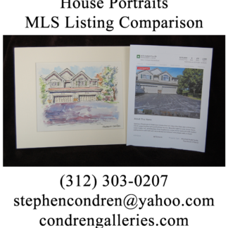 MLS photo with matted house portrait watercolor.