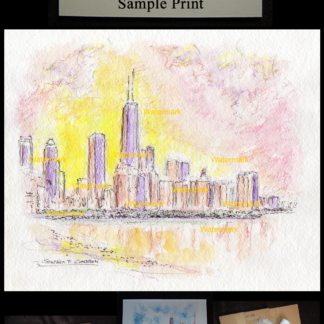 Chicago skyline watercolor at sunset on Lake Michigan.
