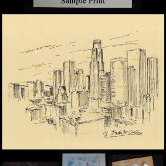 Pen & ink skyline drawing of downtown Los Angeles.