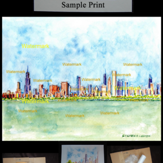 Chicago skyline watercolor on Lake Michigan.