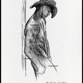 Naked gay cowboy charcoal pencil drawing by Condren.
