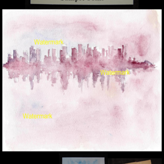 Manhattan skyline Impressionist watercolor at dusk.