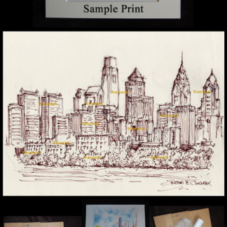Philadelphia skyline pen & ink drawing on Schuylkill River,