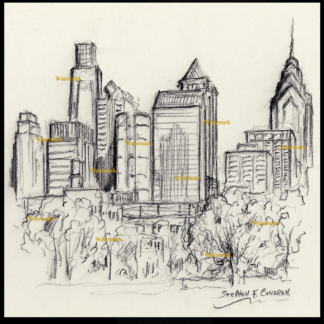 Philadelphia skyline charcoal pencil drawing at FDR Park.