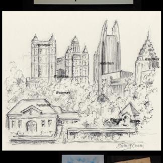 Atlanta skyline drawing of midtown at Lake Clara Meer.