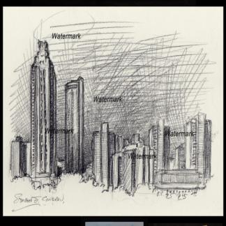 Atlanta skyline pencil drawing of downtown at night.