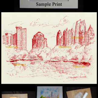 Atlanta skyline red pen & ink drawing of Piedmont Park.