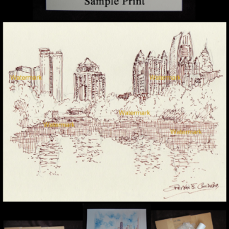 Atlanta skyline pen & ink of Piedmont Park on Lake Clara Meer
