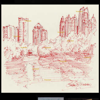 Atlanta skyline red pen & ink of Lake Clara Meer midtown.