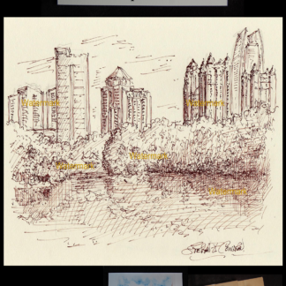 Atlanta skyline pen & ink of midtown on Lake Clara Meer.