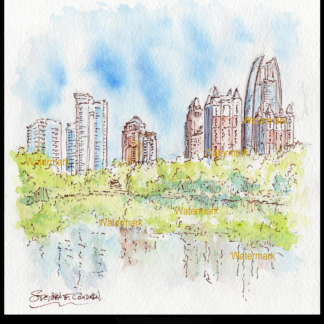 Atlanta skyline watercolor in midtown at Piedmont Park.