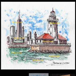 Chicago skyline pen & ink watercolor with Lightouse.