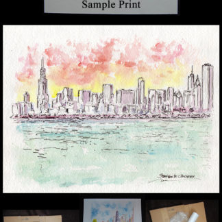 Chicago skyline pen & ink watercolor of downtown at dusk.