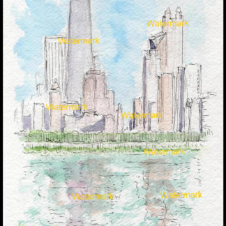 Chicago skyline pen & ink watercolor of the near north side.