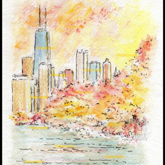 Chicago skyline pen & ink watercolor Lincoln Park at duk.