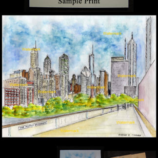 Chicago skyline watercolor of Millennium Park.