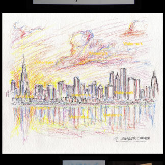 Chicago skyline color pencil drawing at sunset by Condren.