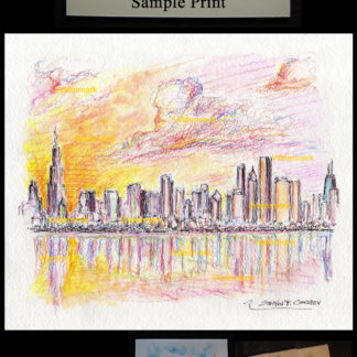 Chicago skyline color pencil & watercolor of downtown.